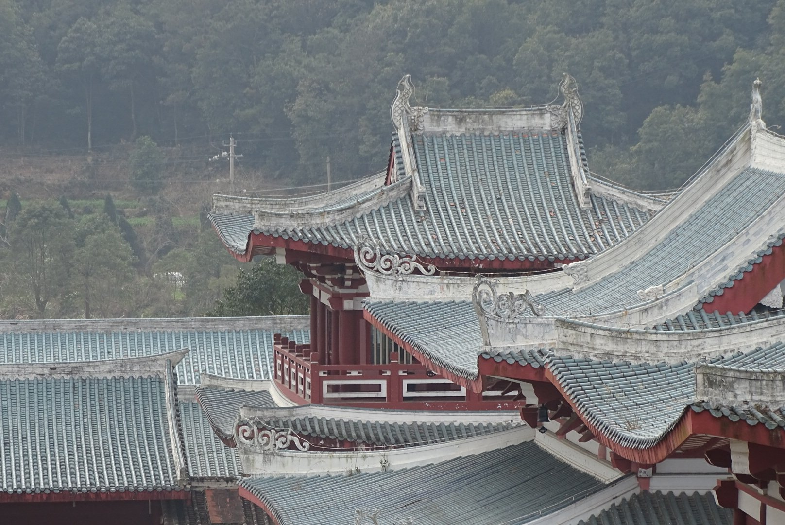 Slate blue rooftops of South Shaolin temple buildings